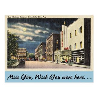 フロリダの湖都市、夜のマディソン東のSt. ポストカード