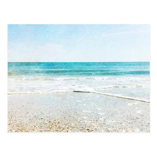 フロリダの熱帯ビーチの砂の海洋波の海の貝 ポストカード