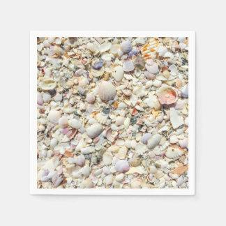 フロリダの熱帯海の貝のビーチの貝の背景 スタンダードカクテルナプキン