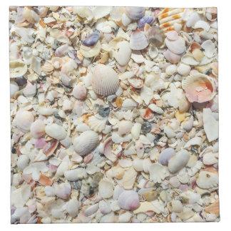 フロリダの熱帯海の貝のビーチの貝の背景 ナプキンクロス