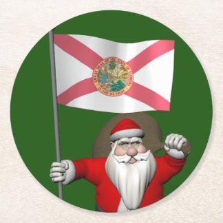 フロリダを訪問している愛国心が強いサンタクロース ラウンドペーパーコースター