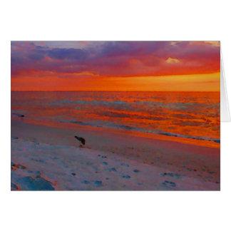 フロリダ湾海岸の日没の水彩画 カード