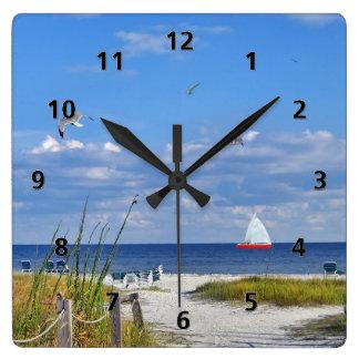 フロリダ湾海岸の時計 スクエア壁時計