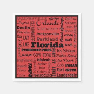 フロリダ都市タイポグラフィのナプキン スタンダードカクテルナプキン