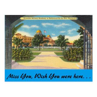 フロリダ、ハリウッドの川岸の軍事学院 ポストカード