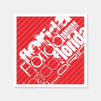 フロリダ; 深紅の赤のストライプ スタンダードカクテルナプキン