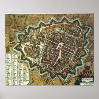 フローニンゲン1652の地図 ポスター
