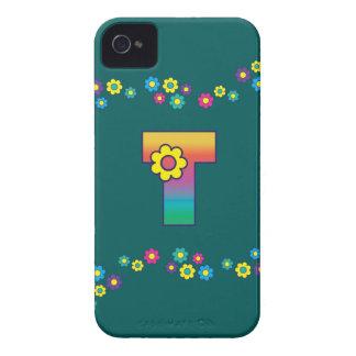フローレス島の虹のモノグラムの手紙T iPhone 4 ケース