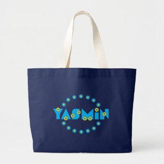 フローレス島の青のヤズミン ラージトートバッグ