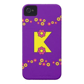 フローレス島の黄色いモノグラムの手紙K Case-Mate iPhone 4 ケース