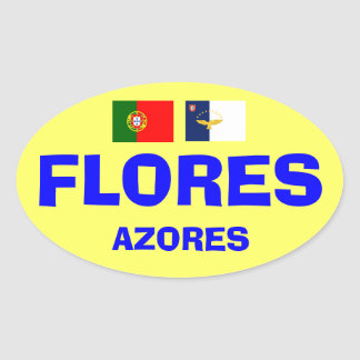 フローレス島アゾレスのステッカー 楕円形シール