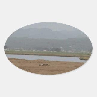 フンボルト北の湾の広い眺め 楕円形シール