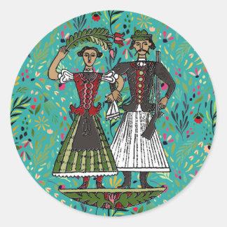 フン族のカップルの花柄 ラウンドシール