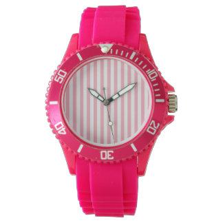 フーセンガムのピンクのストライプ; ストライプの 腕時計