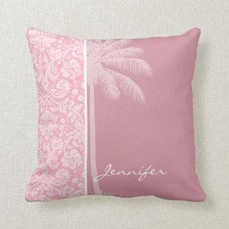 フーセンガムのピンクのダマスク織パターン; やし クッション