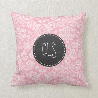 フーセンガムのピンクのダマスク織; レトロの黒板 クッション