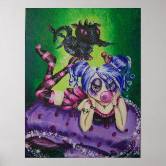フーセンガムの妖精およびドラゴンのファンタジーの芸術のプリント ポスター