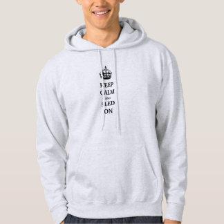"""フード付きスウェットシャツの上で着色される灰""""の""""平静そしてそりを保って下さい パーカ"""