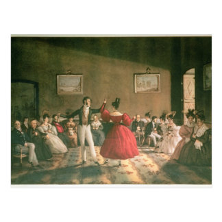 ブエノスアイレス、c.1831のサロンで踊って下さい(w/c pで ポストカード