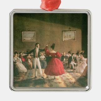 ブエノスアイレス、c.1831のサロンで踊って下さい(w/c pで メタルオーナメント