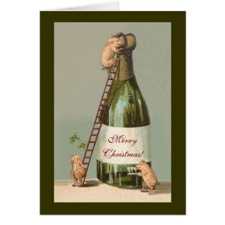 ブタおよびシャンペン; おもしろいなヴィンテージのクリスマス カード