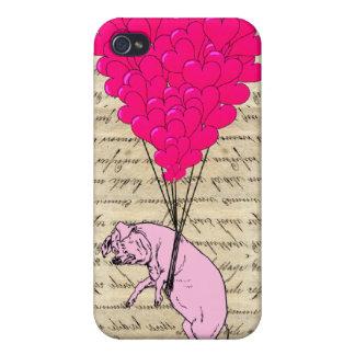 ブタおよびハートの気球 iPhone 4 CASE