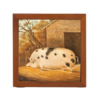 ブタによって斑点を付けられるブタのヴィンテージの農場の絵画 ペンスタンド