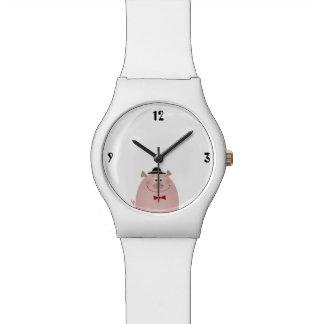 ブタのかわいくおもしろいでエレガントな紳士の純粋な白のカッコいい 腕時計