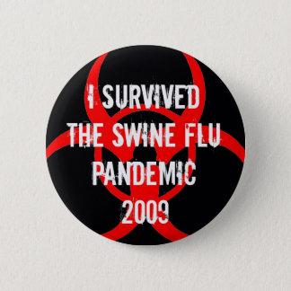 ブタのインフルエンザの全域にわたる生存者-黒 缶バッジ