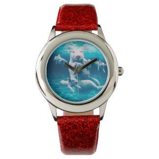 ブタのビーチ-水泳のブタ-おもしろいなブタ 腕時計