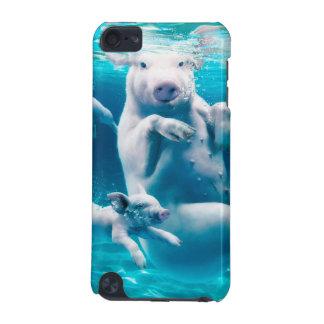 ブタのビーチ-水泳のブタ-おもしろいなブタ iPod TOUCH 5G ケース