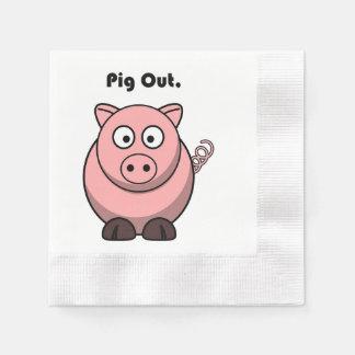 ブタのピンクの豚のようなまたはブタのバーベキューの漫画 縁ありカクテルナプキン