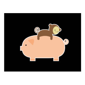 ブタのベビー猿の乗馬 ポストカード
