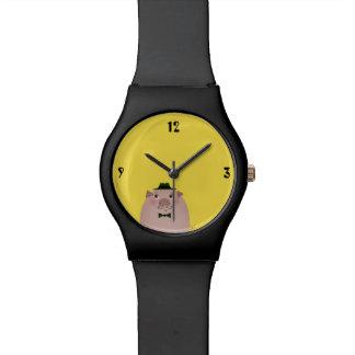 ブタの口ひげのかわいくおもしろいな紳士の古いファッション 腕時計