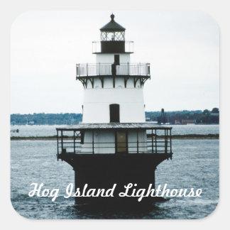 ブタの島の灯台ステッカー スクエアシール