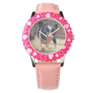 ブタの恋人のためのPiebaldのブタの子犬 腕時計