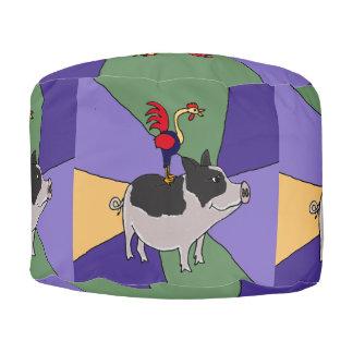 ブタの民芸のPoufの座席のおもしろいなオンドリ プーフ