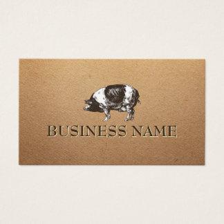 ブタの畜産場の素朴な紙 名刺