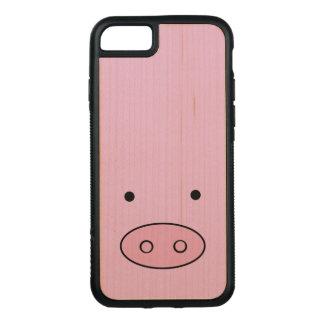 ブタの顔、ブタの鼻、ブタの鼻、豚のような少し-ピンク CARVED iPhone 8/7 ケース