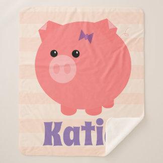 ブタのSherpa愛らしいピンクのぽっちゃりした毛布 シェルパブランケット