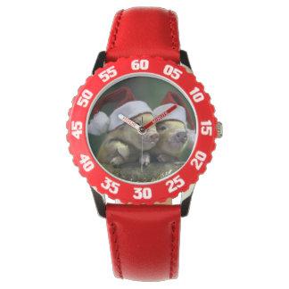ブタサンタクロース-クリスマスのブタ- 3匹のブタ 腕時計