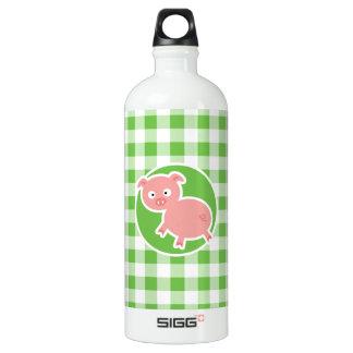 ブタ; 緑のギンガム ウォーターボトル