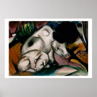 ブタ、c.1912 (キャンバスの油) ポスター