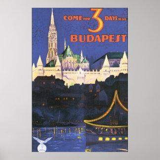 ブダペストのヴィンテージ旅行ポスター ポスター