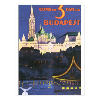 ブダペストのヴィンテージ旅行ポスター ポストカード