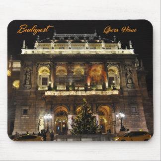ブダペストの夜のライトのオペラハウス マウスパッド