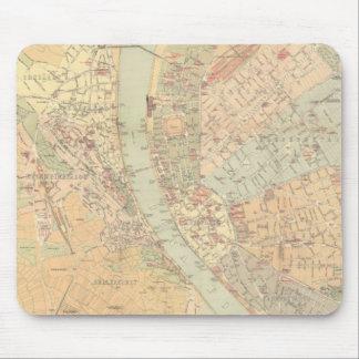 ブダペストハンガリー(1884年)のヴィンテージの地図 マウスパッド