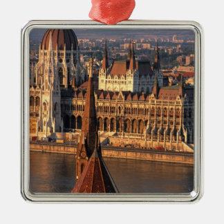 ブダペスト、ハンガリー、Danube川の議会 シルバーカラー正方形オーナメント