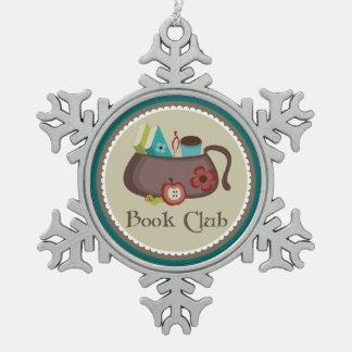ブッククラブのスタイリッシュな読書ギフト スノーフレークピューターオーナメント