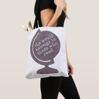 ブックバッグの世界は紫色を読んだ人に属します トートバッグ
